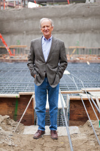 Denis Hayes stands in the construction site for the new Bullitt Center being built in Seattle, WA.