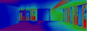 False color imaging of a photograph taken inside a physical model of the level 2 mezzanine provides visualization of luminance levels and the influence of a skylight.